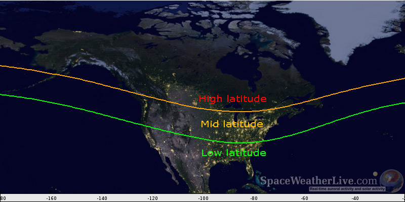 The Low Middle And High Latitude Help SpaceWeatherLivecom - Kp index map us